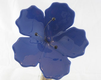 Striking Blue Fused Glass Hibiscus Flower Plant Stake