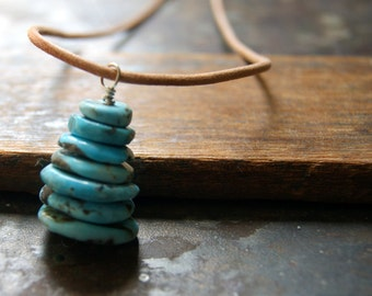 Turquoise Cairn Necklace with leather cord - Campitos Mine Mexican Turquoise Pendant