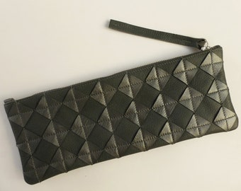 Dark silver leather clutch. Repurposed silver leather diamond chips on gray leather, silver zipper, fully lined.