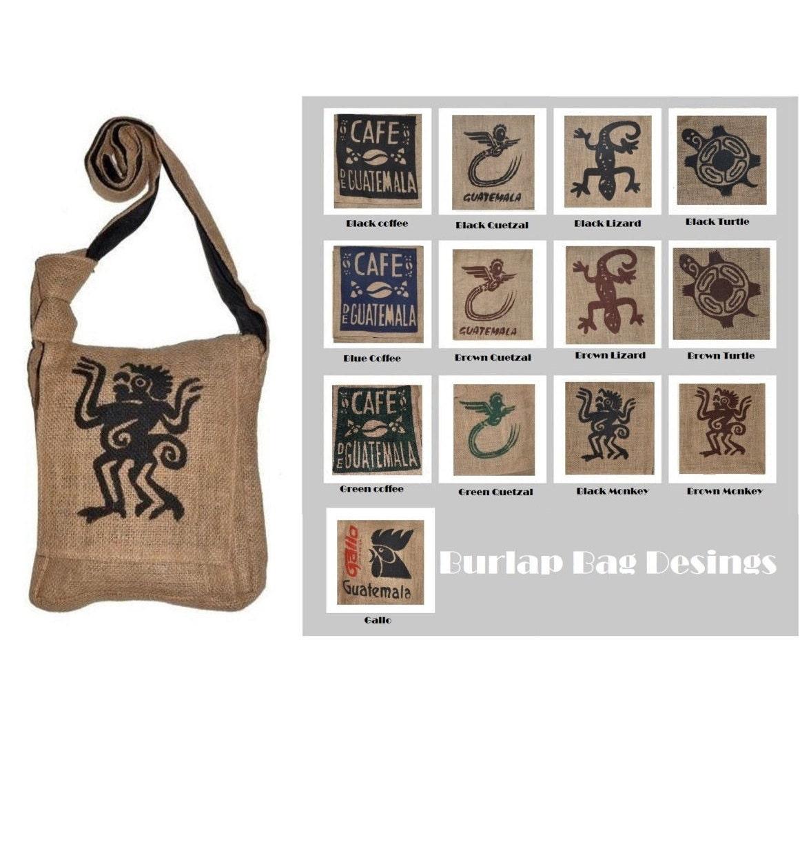 Burlap messenger crossbody Guatemala Coffee sack bag El