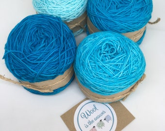 Hand Dyed 4 ply Superwash Merino -Gradient set Turquoise