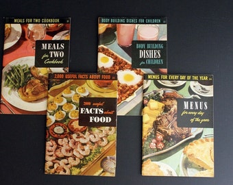 Vintage 1940s and 1950s Culinary Arts Institute Cookbook Set Numbers 21 22 23 24