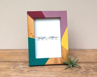 4x6 Picture Frame | Radial Color Block | Modern Picture Frame | Wood Picture Frame