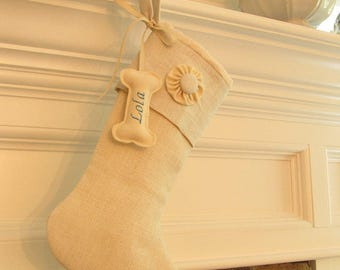 Personalized Dog Christmas Stocking Embroidered Linen Winter White Burlap Monogram One Button Rosette