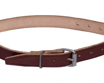 Vintage Army Brown Leather Strap With Metal Buckle 55cm Long Unissued NOS tie down pull tight