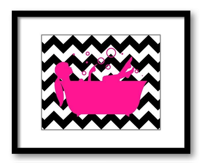 fascinating hot pink black bathroom | Bathroom Decor Bathroom Print Deep Hot Pink and Black Girl