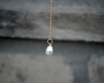 Pearl pendant 30 inch necklace, 14 karat gold filled, long layering necklace, bridesmaid gift, bridesmaid necklaces
