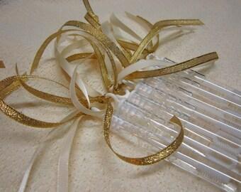 40 Ceremony Wedding Bubble Wands Double ribbon