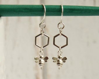 Sterling Silver Tiny Honey Bee Drop Earrings -- Minimalist