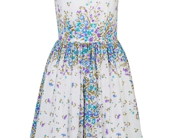 Floral bridesmaid dress Wedding guest dress Garden party dress Tea party dress 1950s dress 50s dress Novelty print dress Midi floral dress
