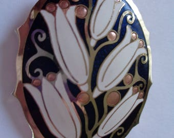 Fabulous Vintage Large Signed Fish and Crown Black/White Cloisonne Flowers Brooch/Pin