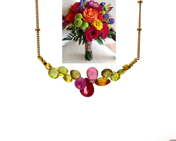 Bridesmaid Gift. Ruby, Pink Sapphire and Citrine Necklace. Wedding Color Match Service. Multi Gemstone Necklaces.  N2398