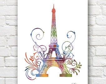 Eiffel Tower Art Print -Abstract Watercolor Painting - Paris Wall Decor