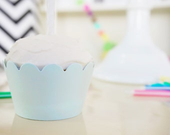 PALE BLUE Cupcake Wrappers - Set of 12