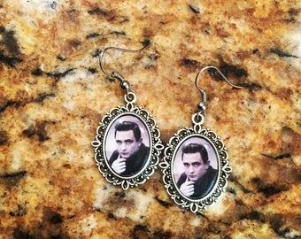 Johnny Cash classic rebel 18 x 13mm antiquated silver setting earrings retro 1950s rock n' roll