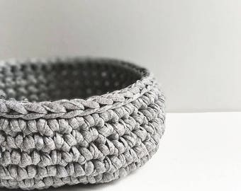 ROUHEA crochet bowl // Gray minimalist and modern crochet bowl, crocheted basket for home & desk organization, kids room organization basket