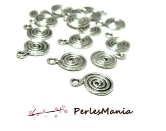 PAX: about 100 pendants round spiral 2N9487 old silver charms, DIY