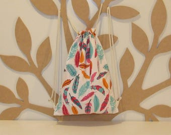 Backpack child print colorful feathers