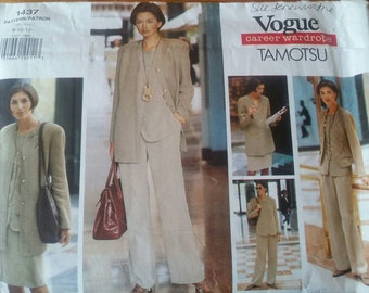 Vogue Career Wardrobe Tamotsu Misses' Jacket, Vest, Top, Skirt & Pants Multi-sized Pattern