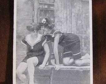 Vintage Real Photo Postcard Dated 1915 Women's Swimsuit Fashion Risque Black & White Mass Produced