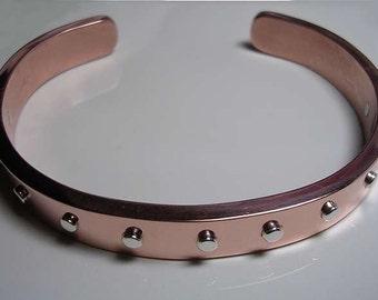 Copper Bracelet & Sterling Silver Rivets,