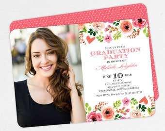 Graduation Invitation, Photo Graduation Invitation, Graduation Announcement, Printable, PDF, DIY, Watercolor, Flowers, Pink, Peach, Michelle