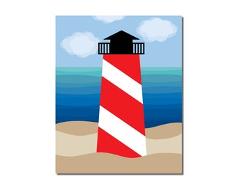 S A L E - Lighthouse - 8x10 Children's Art Print - Nautical Ocean Beach Theme