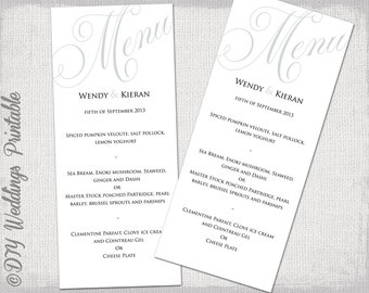 "Wedding menu template silver gray wedding menu DIY wedding menu template ""Parfumerie"" grey digital printable menu -EDITABLE instant download"