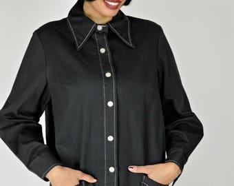 Black Smock, Black Shirt,  Black Jacket, Black Top, Artist Smock, Lightweight Jacket, 1960s Jackets, Teachers Smock, Art Smock, Size XL