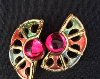 Vintage Colorful Gold Clip-on Earrings