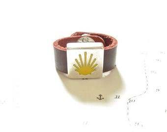 Leather ring - Camino de Santiago Waymarker / Scallop shell symbols