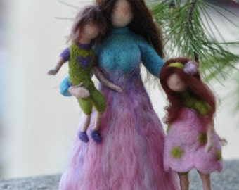 Needle felted Waldorf Doll-Mother  and two children.Standing doll soft sculpture.