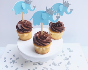 12 Elephant Cupcake Toppers, It's a Boy Toppers, Elephant Cupcake Top, Elephant Cake Topper, It's a Boy Elephant, Blue Elephant Party