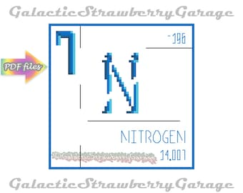 Periodic Table Cross Stitch - Nitrogen Digital Pattern