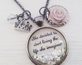 """Inspirational quote necklace, """"She decided to start living the life she imagined"""", personalized jewelry, inspirational gift"""