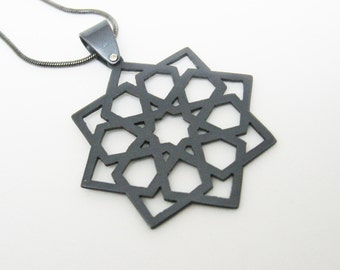 Moroccan star black copper pendant islamic architecture on snake chain