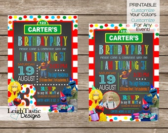 PRINTABLE Sesame Street Inspired Invitation, Sesame Street Birthday, Sesame Street Party, Elmo, Big Bird, Birthday Party