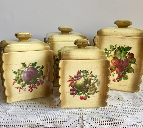Vintage Kitchen Canisters: Vintage Kitchen Canisters Arnels Ceramic Kitchen Canister Set