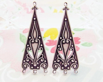 Antiqued Silver Ox Art Nouveau Chandelier Earring Dangle Findings 35mm Long 4 Rings Connector - 4