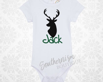 Personalized Deer Shirt, Antlers Shirt, Deer Silhouette, boys deer, boys hunting