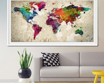 Push pin world map,  Large Push Pin ,Travel World map, World map poster, Push pin travel map, Push pin map, Art Print PushPin, Wall Art (L1)