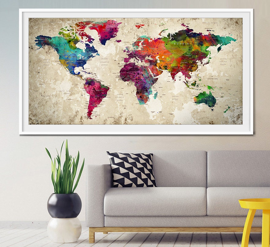 Push pin world map large push pin travel world map world zoom gumiabroncs Image collections