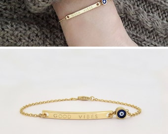 Evil Eye Bracelet, Customized Jewelry, Gift for wife, Simple Personalized Bracelet, Good vibes jewelry, Nazar Jewelry / B446x