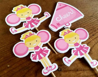 Cheer Party - Set of 12 Assorted Cheerleader Cupcake Toppers in Pink by The Birthday House