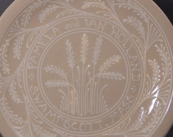 """Ceramic 11""""  Personalized White Wheat with White Writing  Wedding Commemorative Plate"""