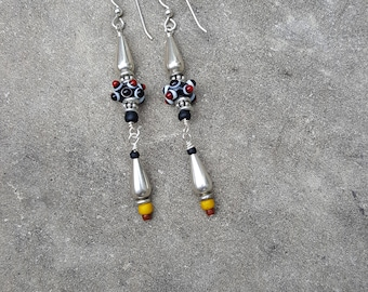 Arty Statement Sterling and Glass Lampwork Bead Earrings