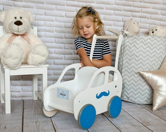 Personalized Walker ECO friendly Handmade Wooden Buggy Stroller, Car, Convertable, Pram, Mover,Walker. With Child's NAME. Customized colors.