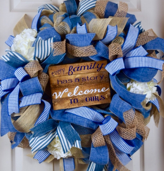 Every Family Welcome Denim and Jute Burlap Mesh Wreath with Hydrangeas; Country Wreath; Classic Welcome Everyday Wreath; Blue Beige Wreath