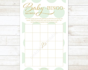 mint and gold baby shower bingo game card printable DIY mint and gold glitter baby shower games - INSTANT DOWNLOAD