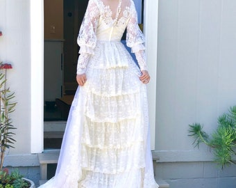 True 1960's Vintage Ethereal Union Made Wedding Gown